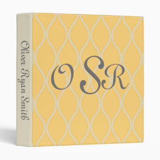 Yellow and Cream Monogram Baby Album Vinyl Binder