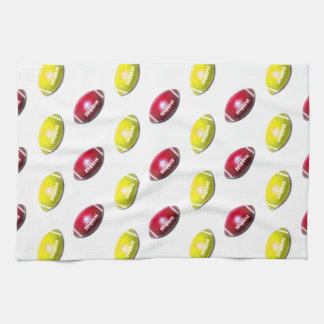 Yellow and Dark Red Football Pattern Kitchen Towel
