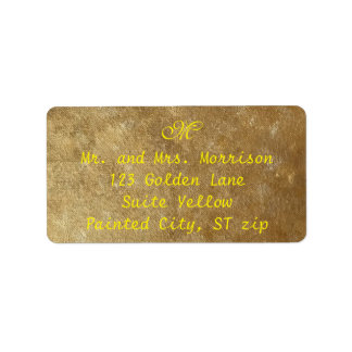 Yellow and Gold Blended Monogram Address Labels