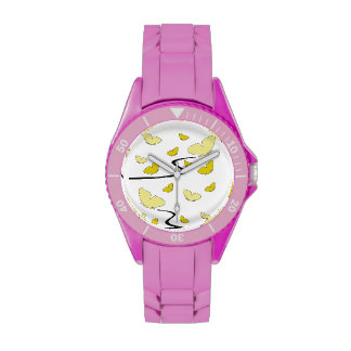 Yellow and gold butterflies on a Pink Watch