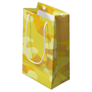 Yellow and Gold Camo Design Small Gift Bag