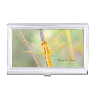 Yellow and Gold Dragonfly Case For Business Cards