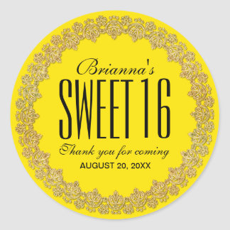 Yellow and Gold Personalized Sweet 16 Party Classic Round Sticker