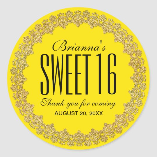 Yellow and Gold Personalized Sweet 16 Party Round Sticker