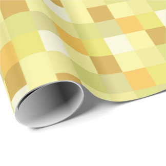 Yellow and Gold Pixelated Pattern Wrapping Paper