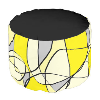 Yellow and Gray Abstract Art Pillow Pouf