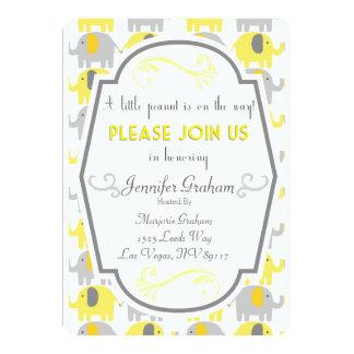 Yellow and Gray Baby Shower Invitation