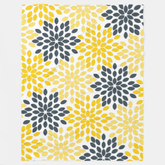 Yellow and Gray Charcoal Modern Floral Fleece Blanket
