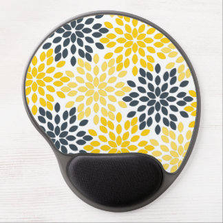 Yellow and Gray Charcoal Modern Floral Gel Mouse Pad