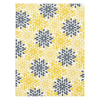 Yellow and Gray Charcoal Modern Floral Tablecloth