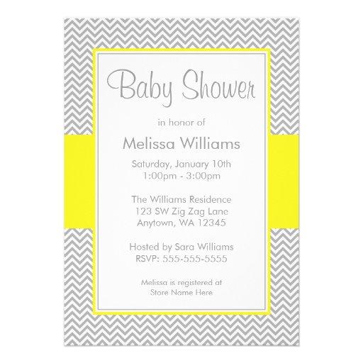 Yellow and Gray Chevron Baby Shower Invitations Custom Invitation