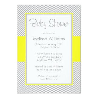 "Yellow and Gray Chevron Baby Shower Invitations 5"" X 7"" Invitation Card"
