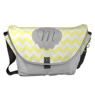 Yellow and Gray Chevron Monogram Personalized Bag Messenger Bag