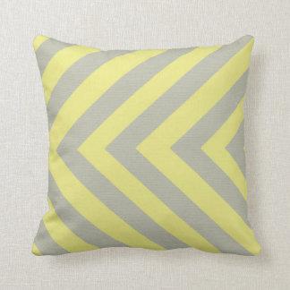 Yellow and Gray Chevron Pillow