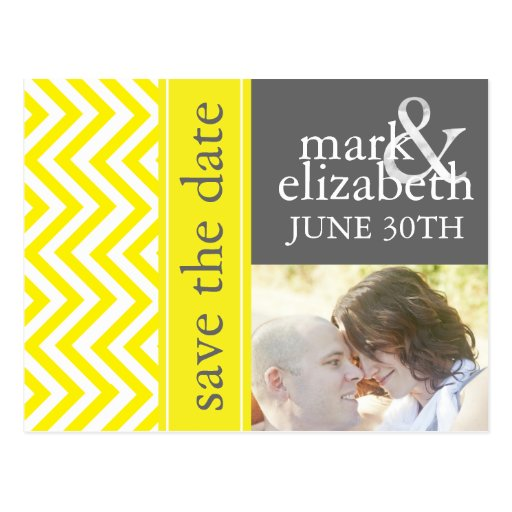 Yellow and Gray Chevron Save the Date Card Postcard