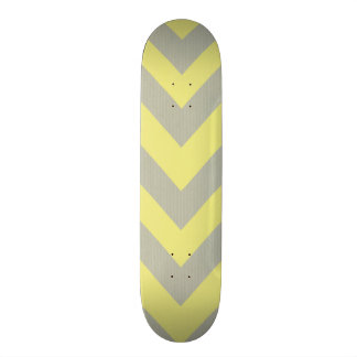 Yellow and Gray Chevron Skateboard Deck