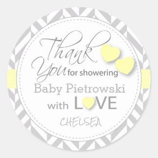 Yellow and Gray Chevron Thank You Classic Round Sticker