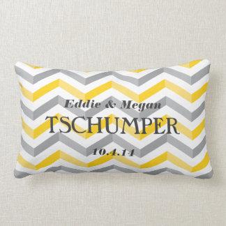 Yellow and Gray Chevron Wedding Lumbar Pillow