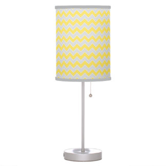 Yellow and Gray Chevron Zigzag Pattern Table Lamp