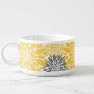 Yellow and Gray Chrysanthemums Floral Pattern Bowl