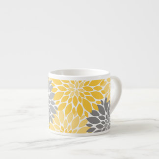Yellow and Gray Chrysanthemums Floral Pattern Espresso Cup