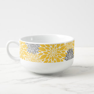 Yellow and Gray Chrysanthemums Floral Pattern Soup Mug