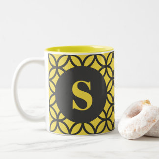 Yellow and Gray Circle Pattern Mug