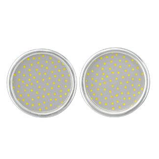 Yellow And Gray Confetti Dots Cuff Links