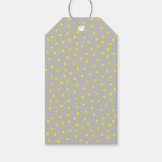 Yellow And Gray Confetti Dots Gift Tags