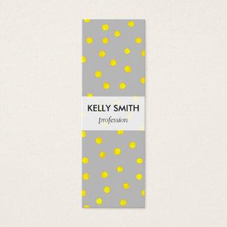 Yellow And Gray Confetti Dots Mini Business Card
