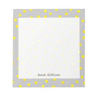 Yellow And Gray Confetti Dots Notepad