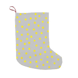 Yellow And Gray Confetti Dots Small Christmas Stocking
