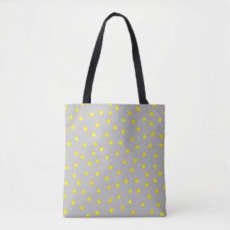 Yellow And Gray Confetti Dots Tote Bag