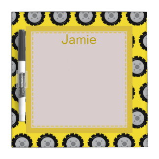 Yellow and Gray Construction Truck Wheels Customiz Dry Erase Board