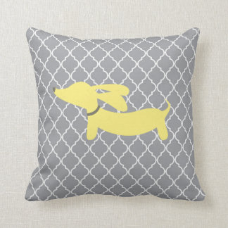 Yellow and Gray Dachshund Home Decor Pillow