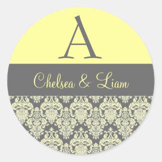 Yellow and Gray Damask Wedding Monogram V2 Classic Round Sticker