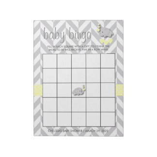 Yellow and Gray Elephant Baby Shower Bingo Game Notepad