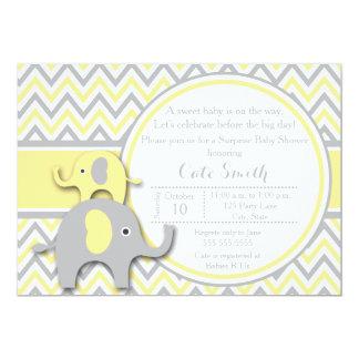Yellow and Gray Elephant Baby Shower Invitation