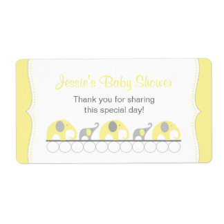 Yellow and Gray Elephants Water Bottle Favor