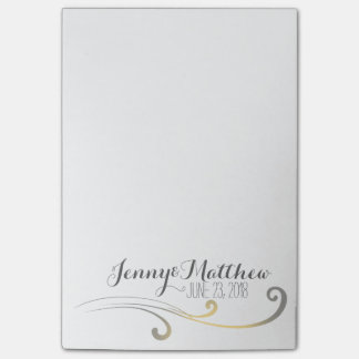 Yellow and Gray Faded Flourish Wedding Post-it Notes