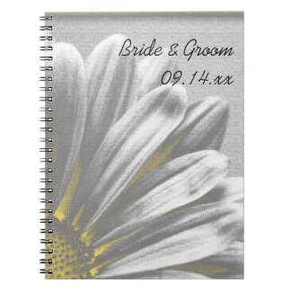 Yellow and Gray Floral Highlights Wedding Spiral Notebook