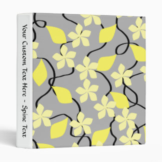 Yellow and Gray Flowers. Floral Pattern. Binder