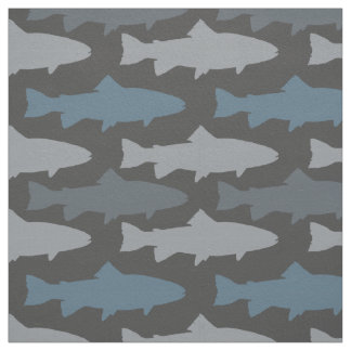 Yellow and Gray Fun Trout Fish Pattern Fabric
