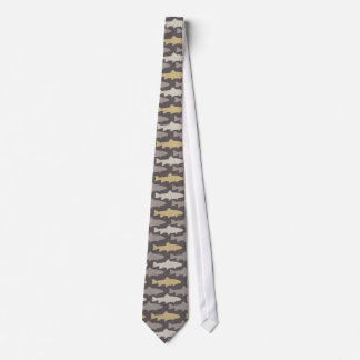 Yellow and Gray Fun Trout Fish Pattern Tie