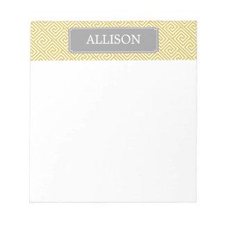 Yellow and Gray Greek Key Pattern Notepad