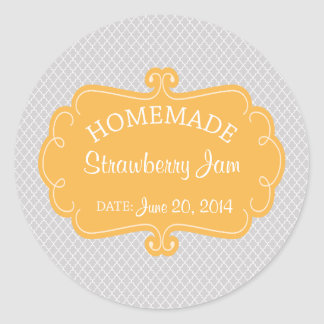Yellow and Gray Homemade Baked Goods Label Round Sticker