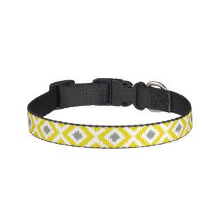 Yellow and Gray Ikat Diamonds Pattern Pet Collar