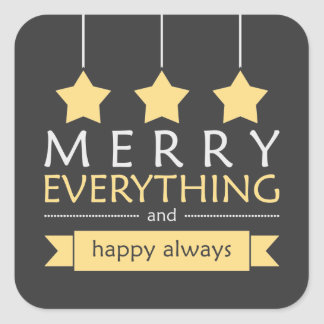 Yellow and Gray Merry Everything Holiday Square Sticker