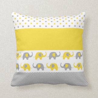 Yellow and Gray Mini-Elephant Pillow