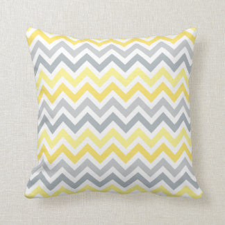 Yellow and Gray Ombré Chevron Stripes Throw Pillow